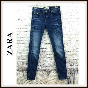 Zara Distressed Skinny Stretch Jeans Premium Denim